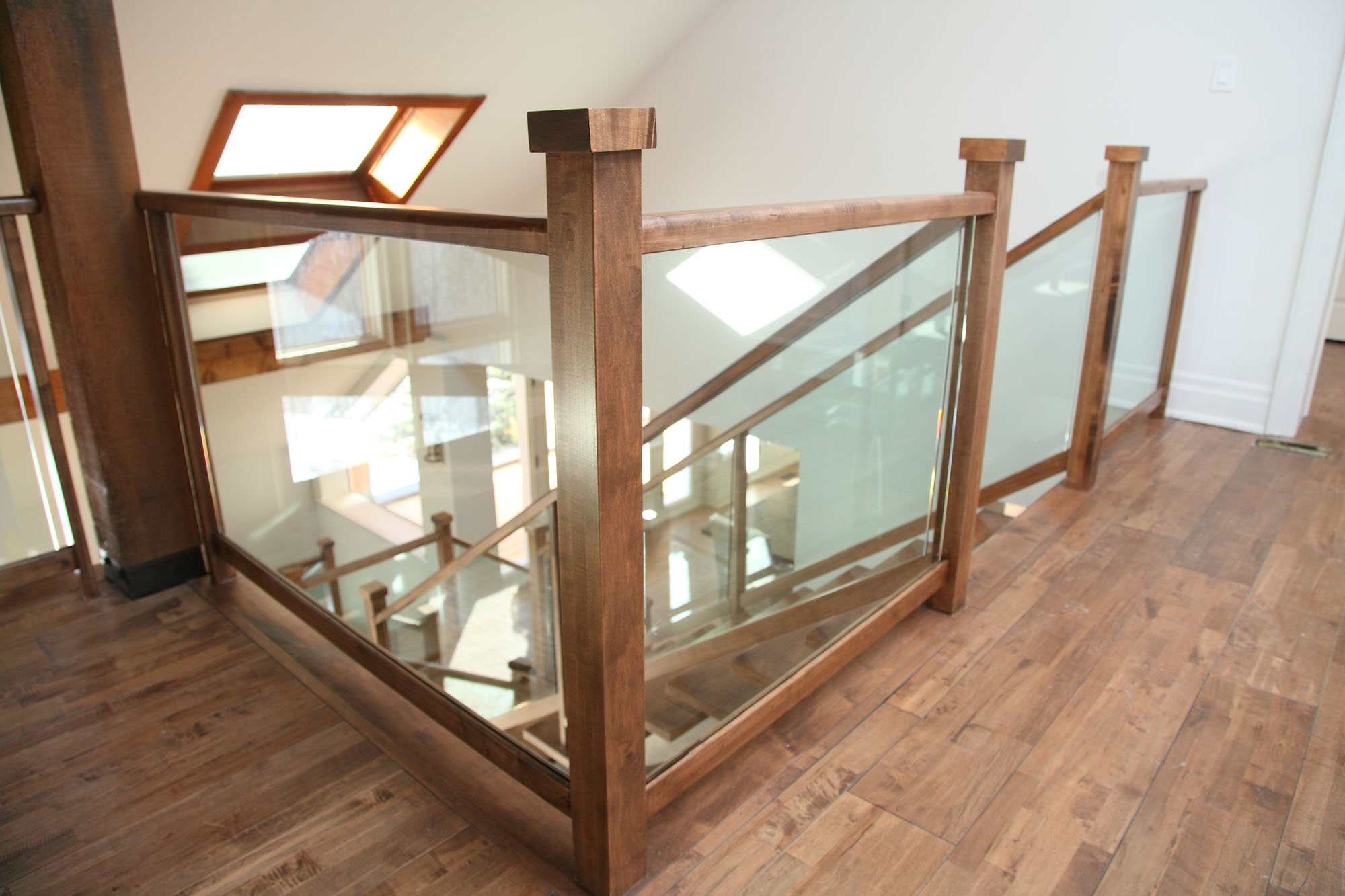 glass banister for stairs