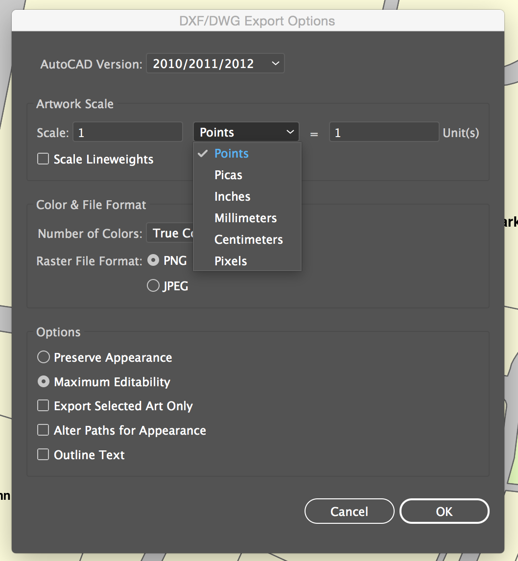 Importing DWG file from illustrator not scaling - Site